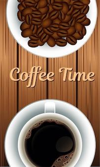 Kaffeezeitbeschriftung mit körnern im hölzernen hintergrund der schale und der tasse