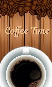 Kaffeezeitbeschriftung mit körnern und tasse im hölzernen hintergrund