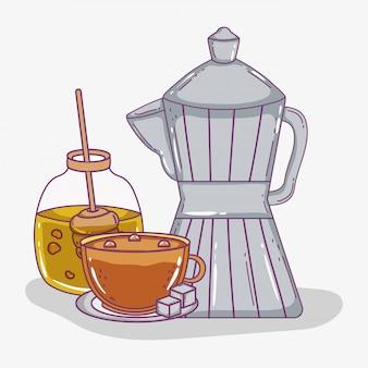 Kaffeezeitskizze flach