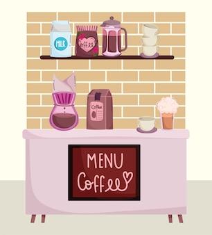 Kaffeezubereitungsmethoden, coffeeshop counter drip maker pack frappe und tasse