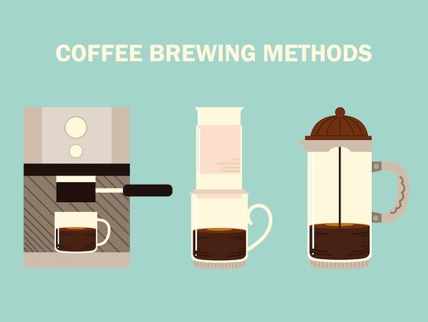 Kaffeezubereitungsmethoden, espressomaschine aeropresse und französische presse