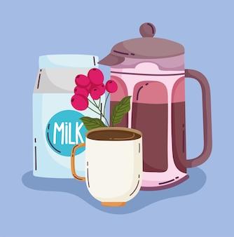 Kaffeezubereitungsmethoden, french press cup und milch