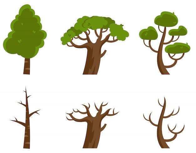 Kahle bäume und bäume mit blättern. pflanzen im cartoon-stil.