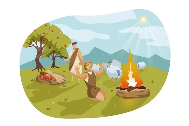 Kain und abel, bibelkonzept