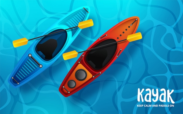 Kajakvektorillustration, wassersport kayak fahrend