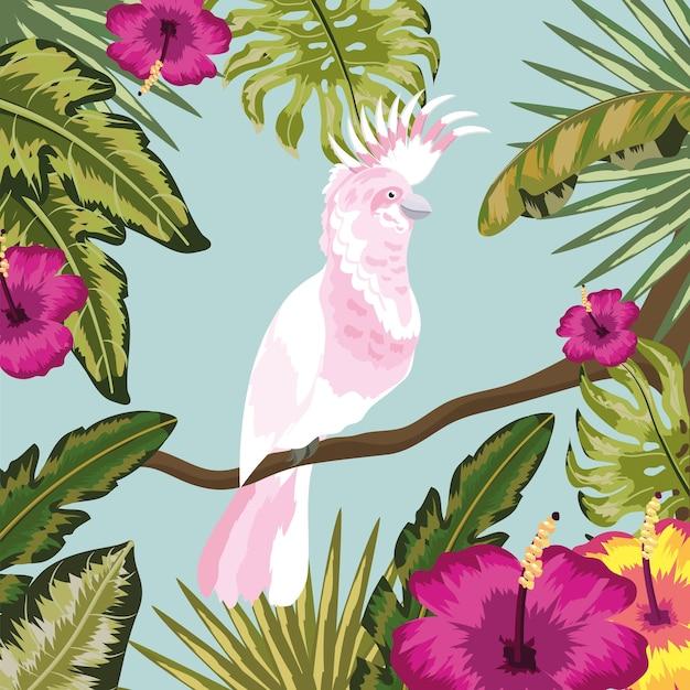 Kakadu mit blumen und blättern pflanzt hintergrund