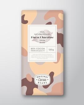 Kakao-schokoladen-label abstrakte formen vektor-verpackungs-design-layout mit realistischen schatten moderne t ...