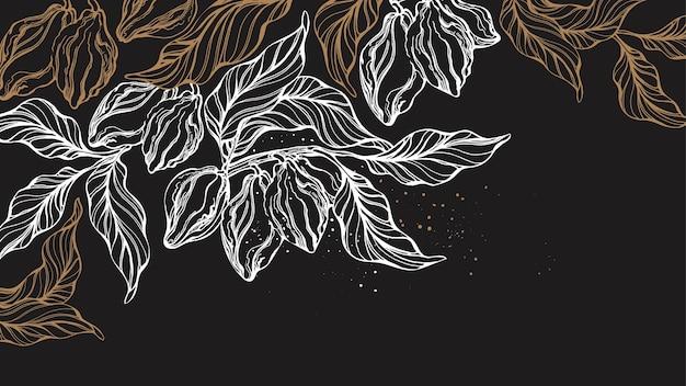 Kakao tropische schablone frische ernte hand gezeichnete weinleseillustration