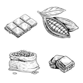 Kakao und schokoladenset. handgezeichnete skizzenzeichnungen. schokoriegel und -stücke, kakaofrucht und kakaobohnenbeutel. retro-stilillustrationssammlung.