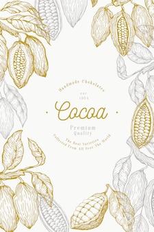 Kakaobohne baum banner vorlage. schokoladenkakaobohnen. hand gezeichnete illustration. vintage-stil illustration.
