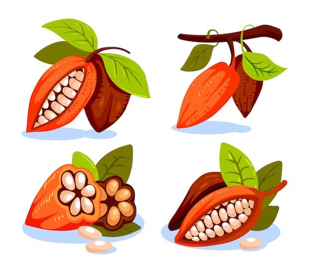 Kakaobohnen-illustrationskarikaturstil. schokoladenkakaobohnenbaum. zusammensetzung des kakaos, entwurfsvorlage für embleme. kakaopflanze. illustration