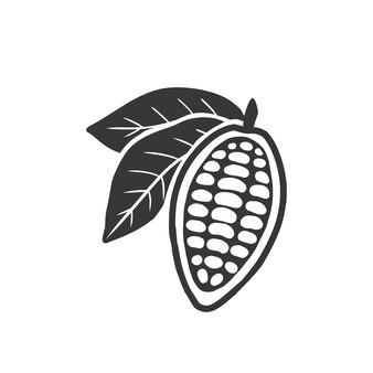 Kakaobohnen schwarzes symbol. getrennt auf weiß.