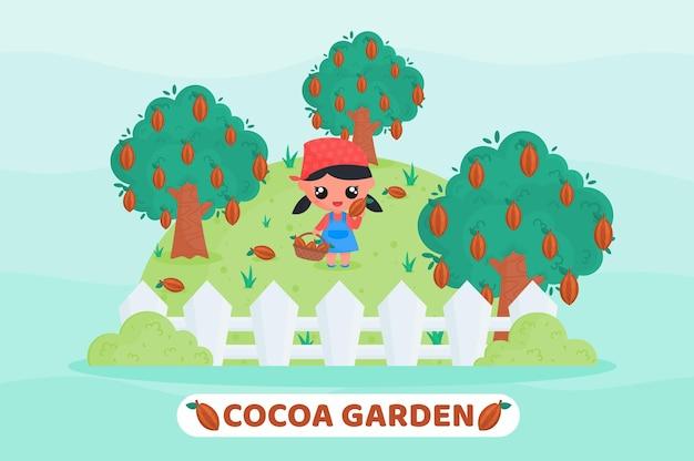 Kakaogarten mit süßem mädchen, das kakao erntet und einen obstkorb voller kakao hält