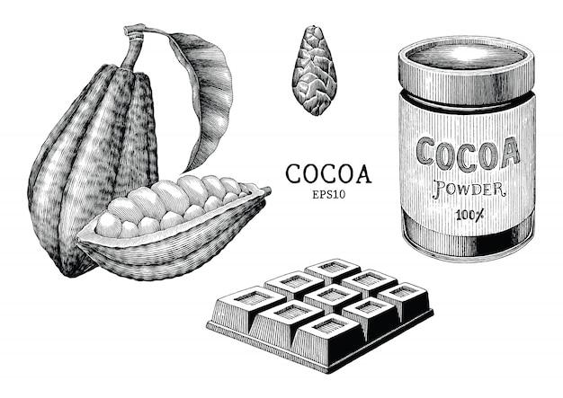 Kakaopflanze und produkthand zeichnen vintage gravurstil lokalisiert auf weißem hintergrund
