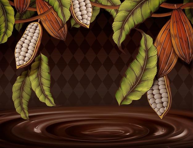 Kakaopflanze verziert rahmen auf rautenhintergrund in gravurart schokoladensauce
