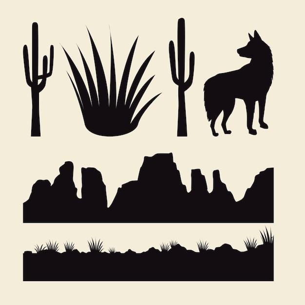Kakteen und wüstengebiete mit hundesilhouetten