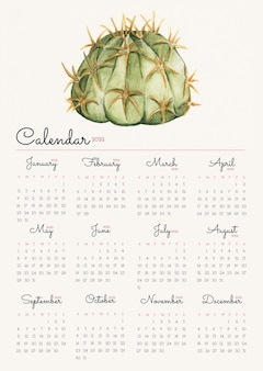 Kaktus 2022 monatskalendervorlage, aquarellillustrationsvektor