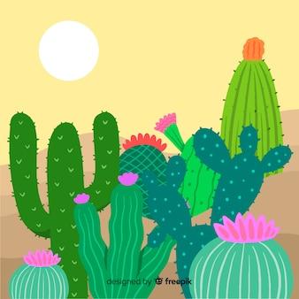 Kaktus auf dem wüstenhintergrund