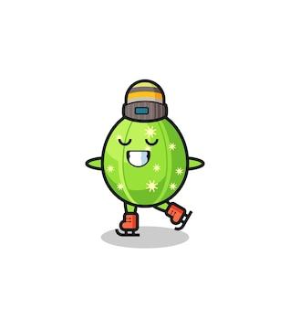 Kaktus-cartoon als eislaufspieler, der aufführt, niedliches design für t-shirt, aufkleber, logo-element
