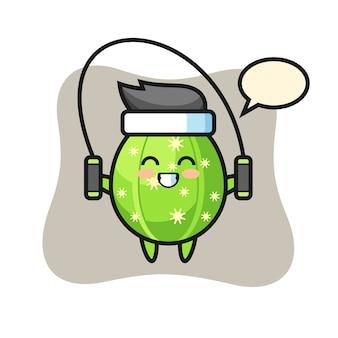 Kaktus-charakter-karikatur mit springseil