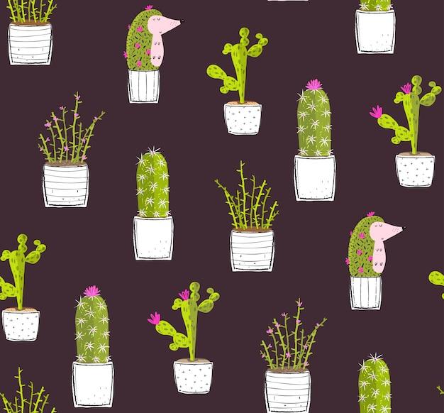 Kaktus-igel, der dunkles nahtloses muster versteckt