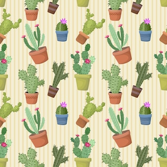 Kaktus im nahtlosen muster des topfes.