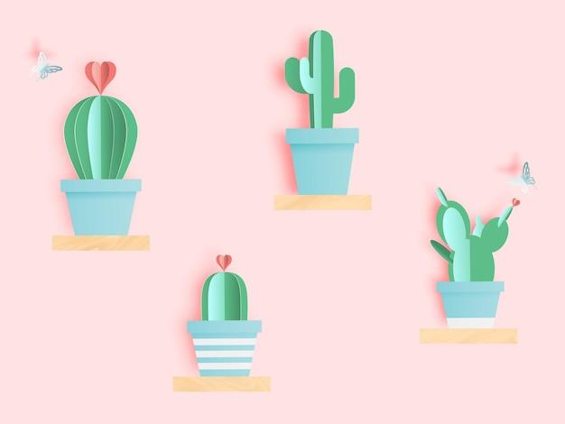 Kaktus im papierkunststil oder im digitalen handwerk