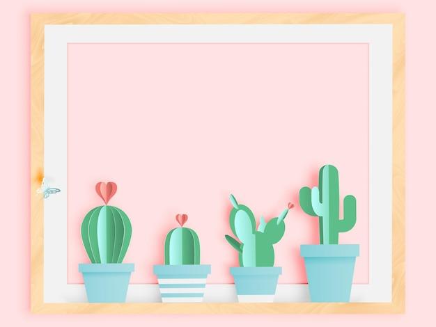 Kaktus im papierkunststil