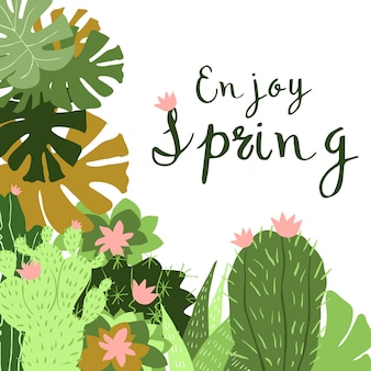 Kaktus im topf, flache designillustration