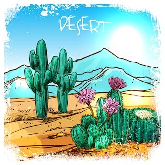 Kaktus in der wüstenskizze