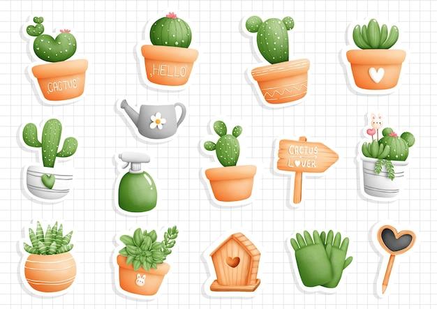 Kaktus in einem topfaufkleber, planer und einklebebuch.