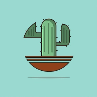 Kaktus in einer flachen vektorikone des topfes lokalisiert auf blau.