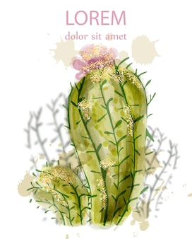 Kaktus isoliertes aquarell