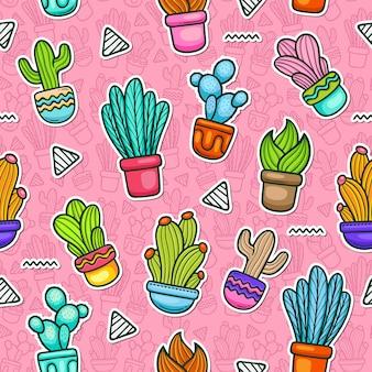 Kaktus kritzeln buntes nahtloses muster