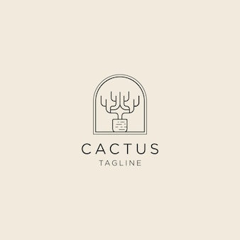 Kaktus-linien-logo mit logo-vorlage im topfstil