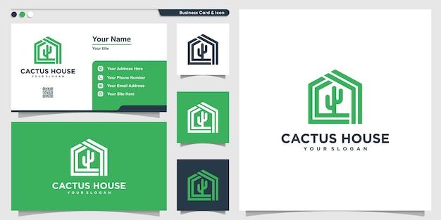Kaktus-logo mit modernem hausstil und visitenkartenentwurf, schablone