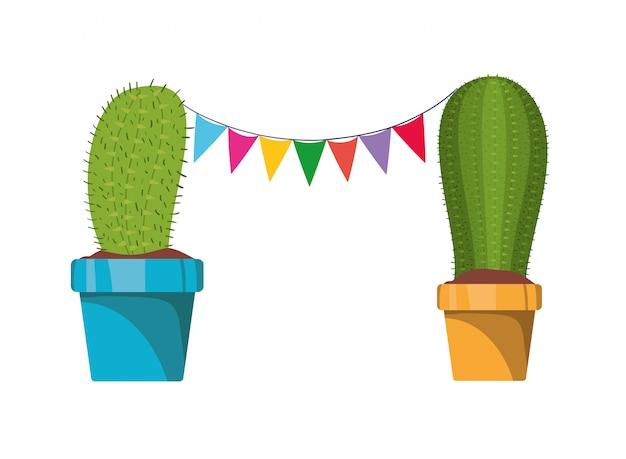 Kaktus mit der girlande, die lokalisierte ikone hängt