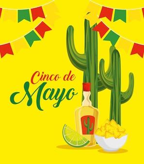 Kaktus mit tequila und nachos zum traditionellen ereignis