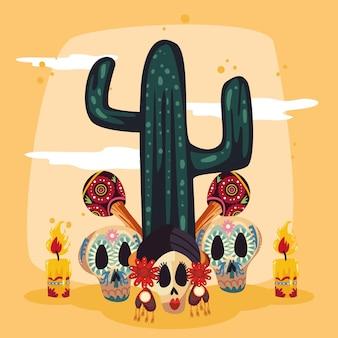 Kaktus mit totenköpfen