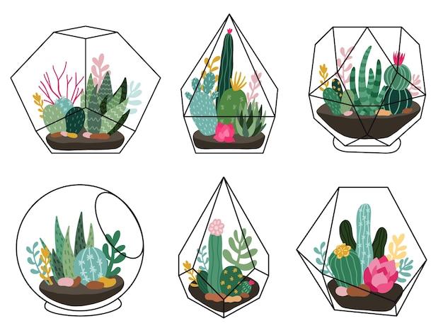 Kaktus skandinavischen stil set illustration
