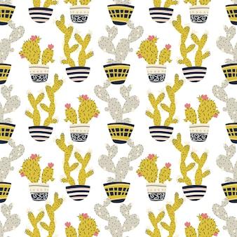 Kaktus tropische pflanzen in töpfen nahtlose muster cartoon kindisch gekritzel handgezeichnete kakteen