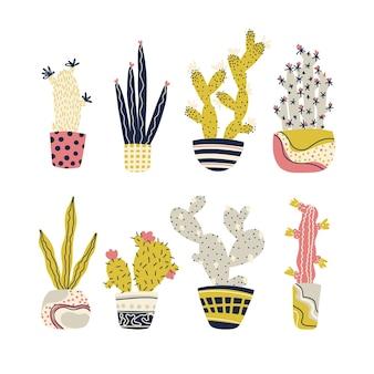 Kaktus tropische pflanzen in töpfen set cartoon kindisches gekritzel niedliche handgezeichnete kakteen-sukkulenten