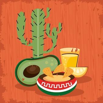 Kaktus und essen mexikanische feier