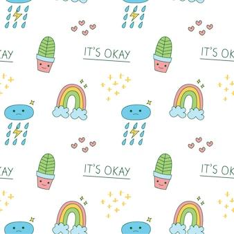 Kaktus und regenbogen cartoon doodle hintergrund