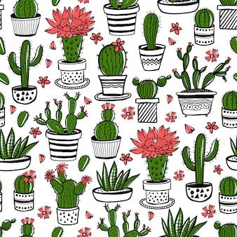 Kaktus und saftiges handgezeichnetes nahtloses muster im skizzenstil. gekritzel färbt blumen in töpfen. bunte niedliche hausinnenpflanzen.