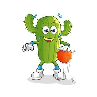 Kaktus-zeichentrickfigur dribbeln basketball