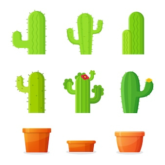 Kaktusbaum im blumentopf auswählen. illustration.