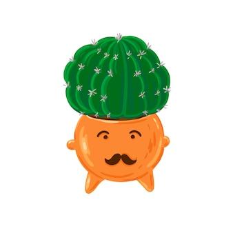 Kaktusblume in süßem keramiktopf spaß und kreativer vektorblumenaufkleber grüne saftige isoliert