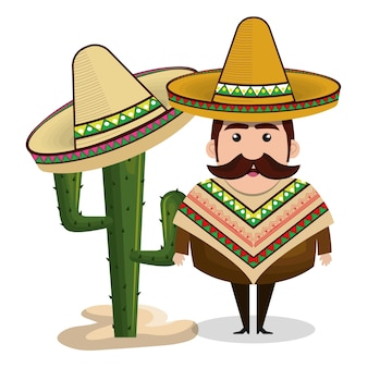 Kaktusgraphik des mannes mexikanischer hut