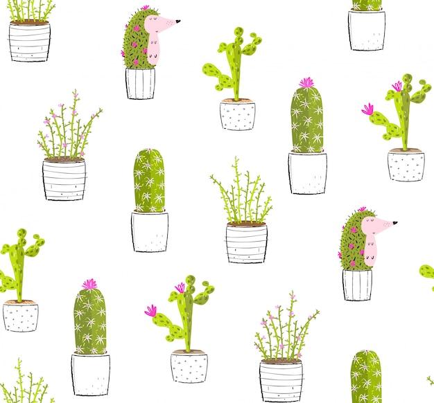 Kaktusigel in töpfen spaß nahtloses muster